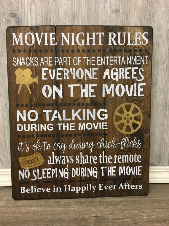 Movie Night Rules Sign / Movie Theater Sign / Rustic Movie