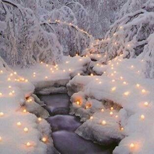 Snow over your lighted up stream!