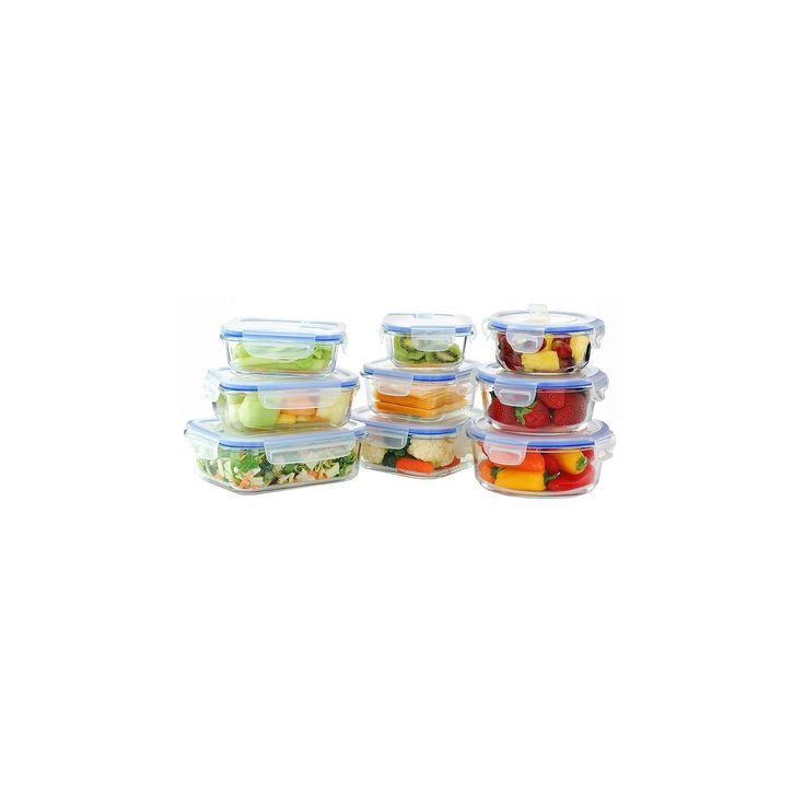 Kinetic GoGreen Glasslock Elements 18-Piece Oven Safe Glass Food Storage Container Set with Vented Lid, Clear