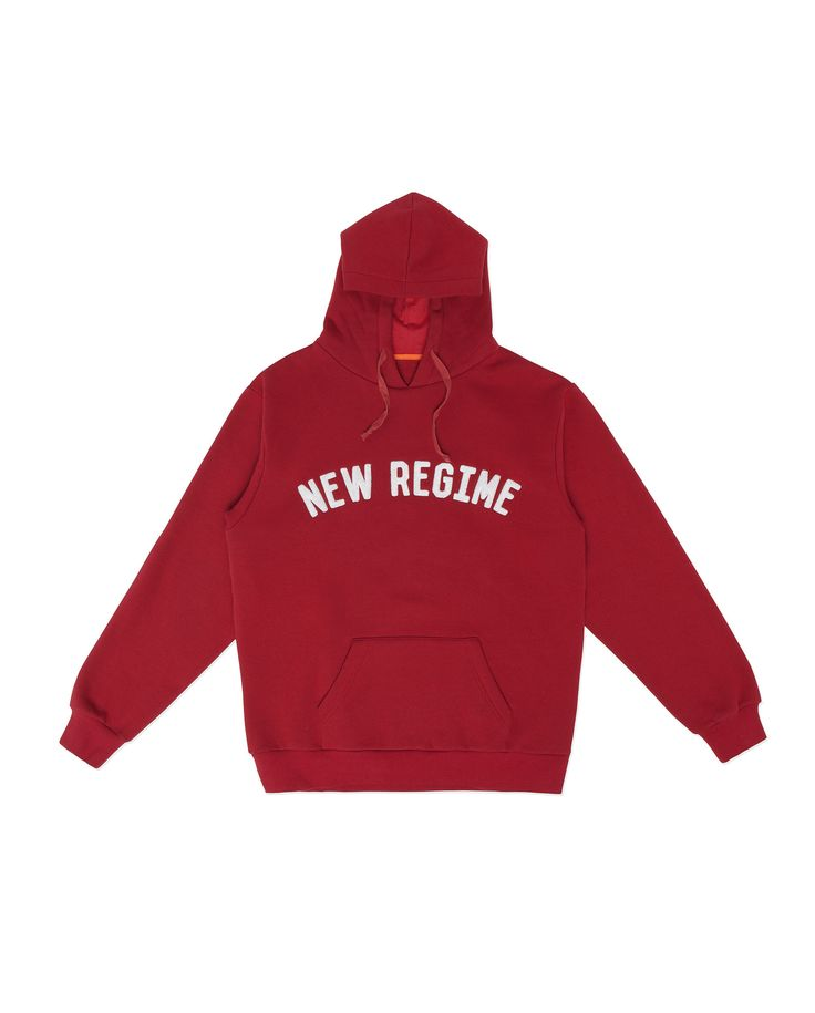 Atelier New Regime Campus Hoodie in cardinal red. Features white loop terry logo embroidery at chest. #ateliernewregime #newregime #FW16