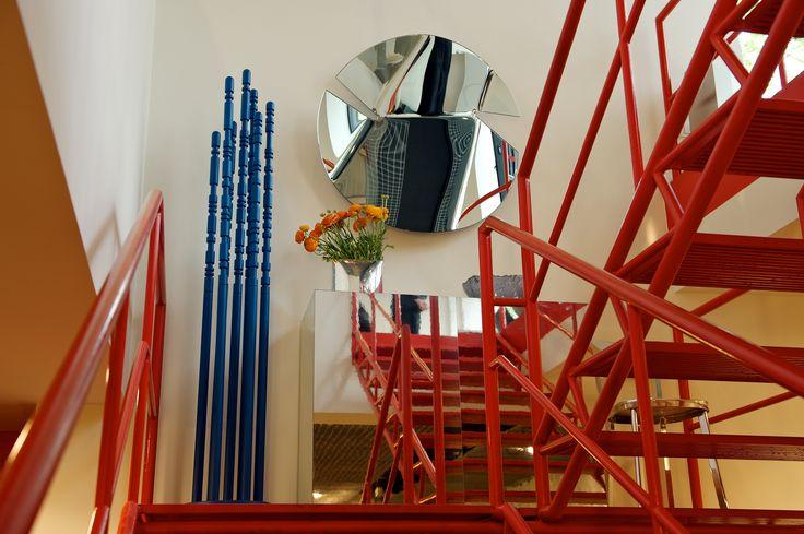 #circle #mirror #red #stairs