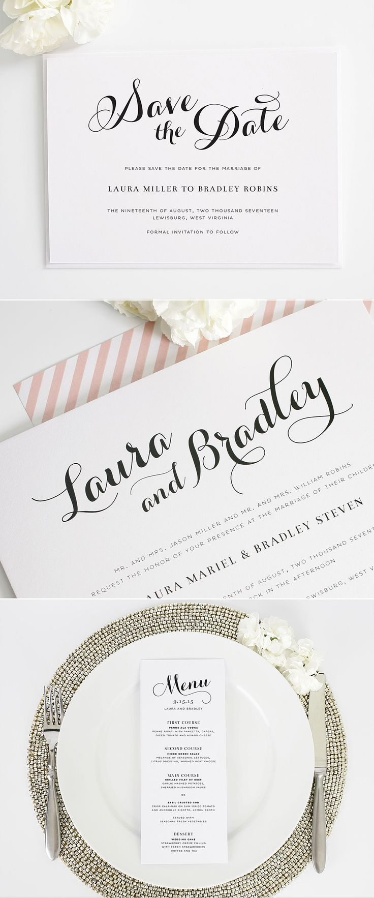 Romantic script invitation suite from Shine Wedding Invitations. #savethedates #menu http://www.shineweddinginvitations.com/wedding-invitations/romantic-script-wedding-invitations