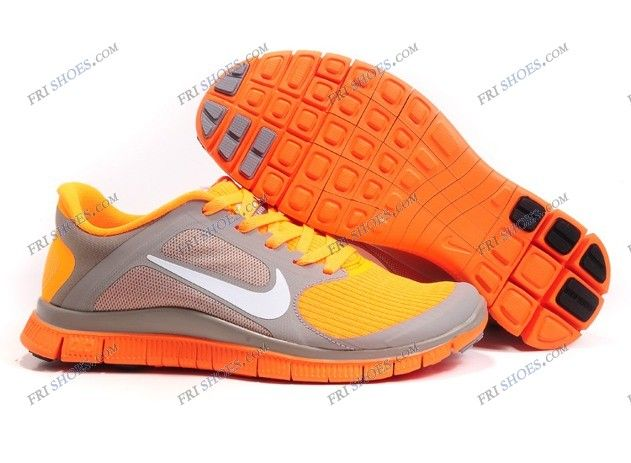 Nike Free 4.0 V3 Grey Orange Womens athletic running shoes nike classic  shoes Regular Price: