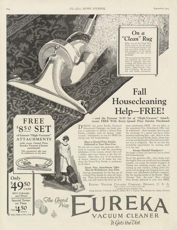 1925 Eureka Vacuum Cleaner Ad Vintage by AdVintageCom on Etsy