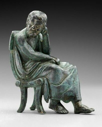 Bronze figure of seated philosopher (Anaximander). Greek or Roman. Late Hellenistic or Imperial Period, c. 1st century B.C.–1st century A.D.   Museum of Fine Arts, Boston