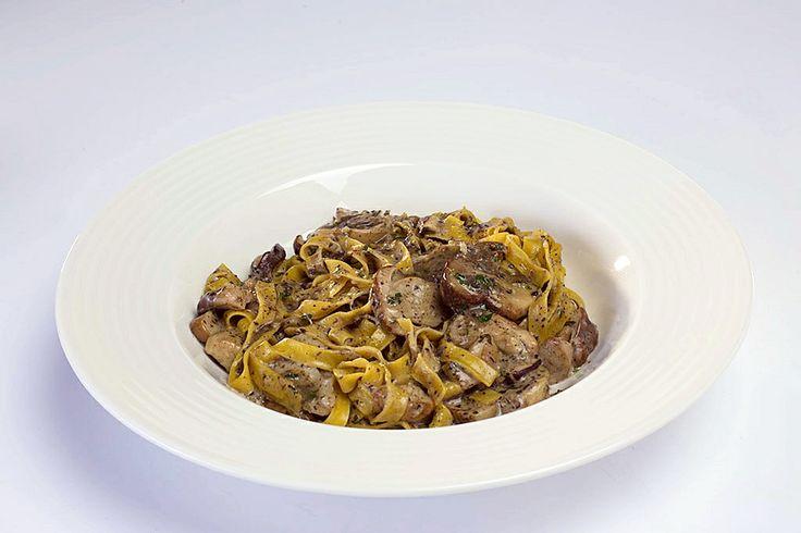Tagliatelle with porcini mushrooms and truffle sauce. Mmmmbuonissime! @ Osteria Gioia