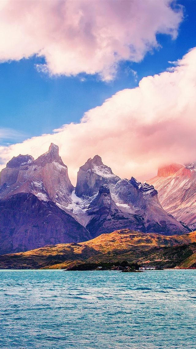 Южная Америка, Чили, озеро, горы, облака, небо iPhone 5 (5S) (5C) обои - 640x1136