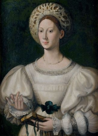 1530s Follower of Parmagianino Portrait of a Lady in a White Coif (Capigliara)