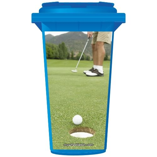 Golfing Green Hole Wheelie Bin Sticker Panel