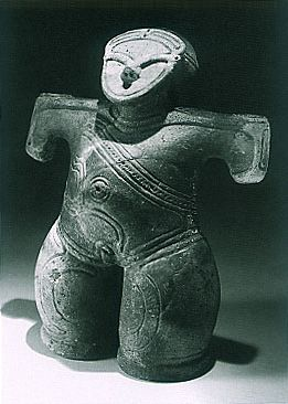 "The person who attaches a mask.   Japanese ceramic figurine ""DOGU"". Jomon period. BC.2,500 - BC.1,200.   Excavation place / Ushiroda Yamanashi Japan."