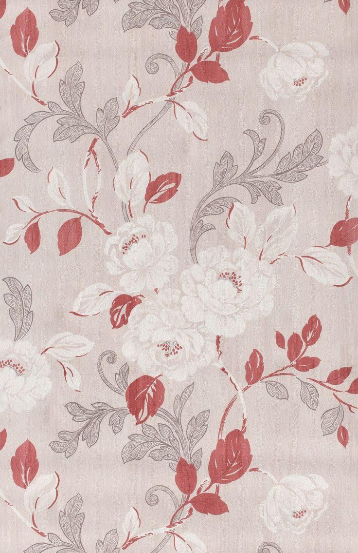 Roses beiges et rouges - Papier peint Floral Dance de Lutèce