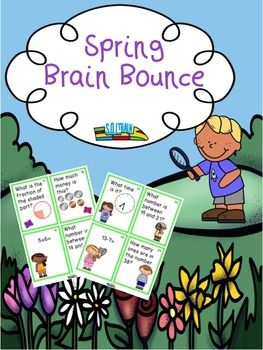 Our Spring Brain Bounce game is a fun spring activity that is interactive. It is like our popular Candy Brain Bounce that so many  have commented on. Check them out. It helps your kiddos practice addition, subtraction, greater than, and less than, place value, money and clocks and fractions. You can also use these cards in a spring center or as a Scoot game.$