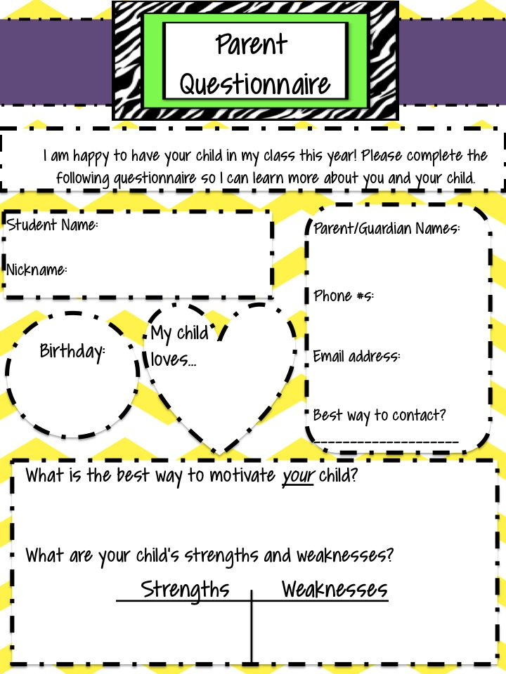 Parent Questionnaire for the first week of school!