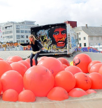 This section of Stavanger, Norway's oil rig playground makes use of old plastic buoys -- from our recycled playground series.
