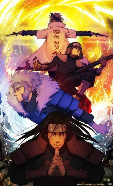 The four Hokage of The Hidden Village of Konoha: Hashirama, Tobirama, Sarutobi, Minato