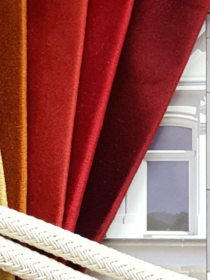 "Opulent Huge Cotton Velvet Red Orange Wine 113""D 52""W Cotton Lined Bay Curtains #Handmade"