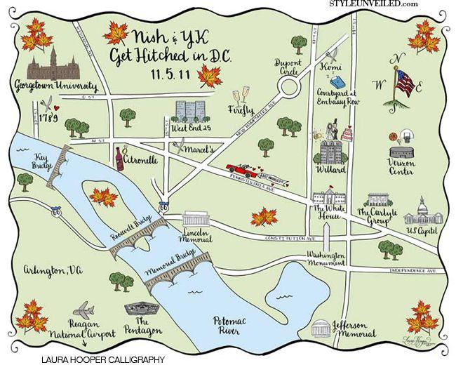Washington Dc Wedding Maps By Laura Hooper Calligraphy