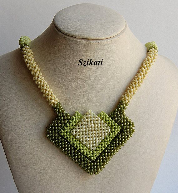 Green Seed Bead Necklace Statement Beadwork Necklace by Szikati