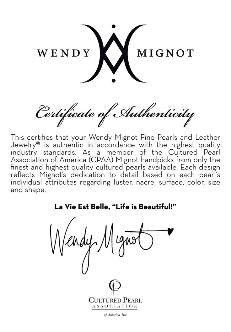 Fine pearls and leather jewelry certificate of authenticity fine pearls and leather jewelry certificate of authenticity wendymignot eboutique pinterest leather jewelry pearls and leather yadclub Choice Image