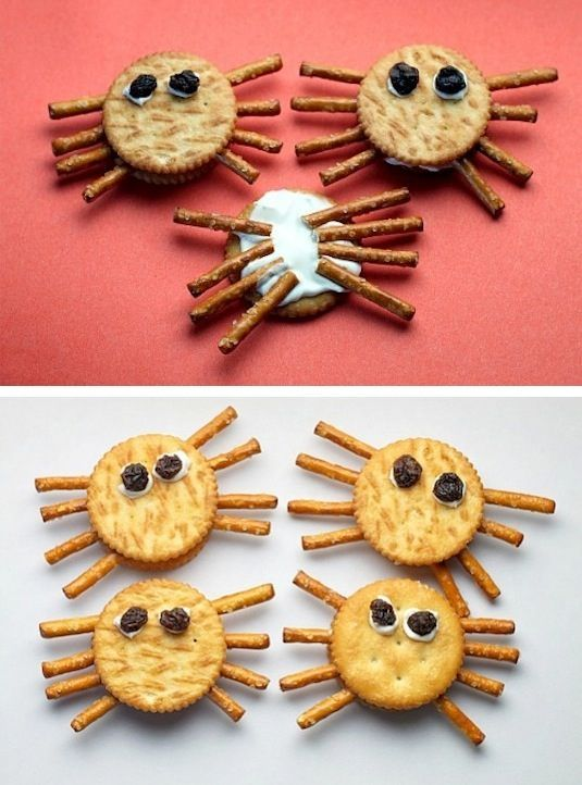 64 Non-Candy Halloween Snack Ideas- spider crackers- just need chocolate chips (or something like that), ritz, fluff or peanut butter, and pretzel sticks! Great fir school itsy bitsy spider/ there was an old lady
