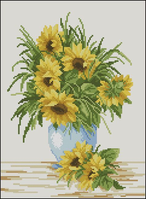 Sunflowers in blue vase-free cross-stitch pattern