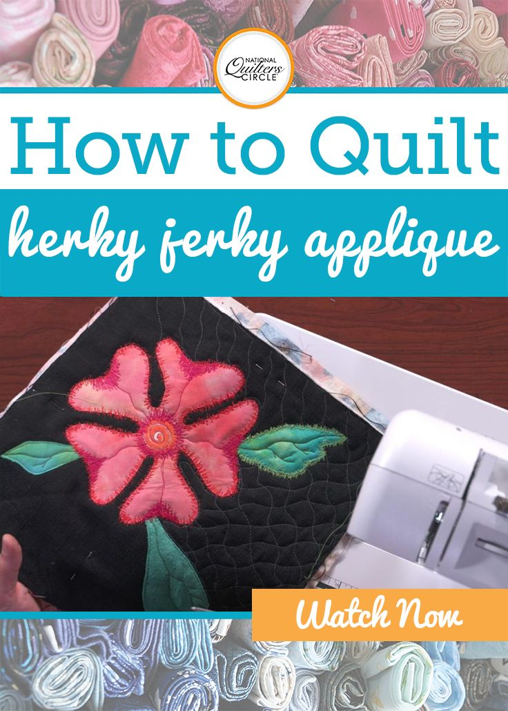 Applique is a fun way to add shapes and designs to a quilt top. Rather than stitch your next applique shape in place with a blanket stitch or other applique stitch, learn how to do herky jerky applique. Heather Thomas shows you how to do this quick and easy stitch around the outer edge of a shape to add an extra design element.