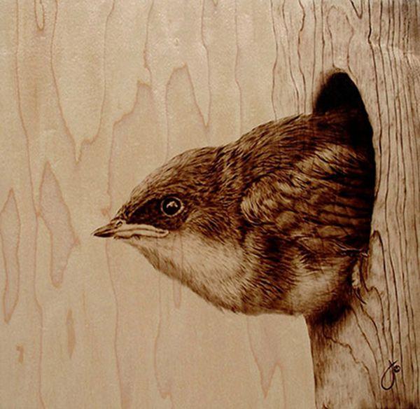 woodburned bird
