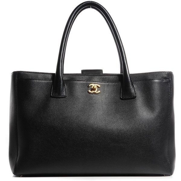 CHANEL Calfskin Cerf Shopper Tote Black ❤ liked on Polyvore featuring bags, handbags, tote bags, black shopper, pocket shopping bag, chanel tote, shopping bag and black tote