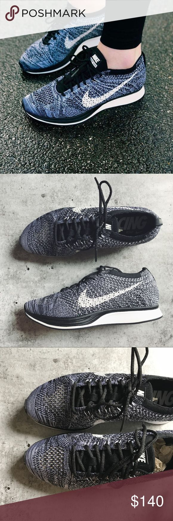 Nike Oreo Flyknit Racer Sneakers •Oreo Flyknit Racer Sneakers  •Unisex shoe, Men's 6= Women's 7.5 Best for narrow-normal width feet.  •New without tags and original box.  •No trades, no holds. Nike Shoes Sneakers