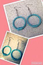 Orecchini Cerchio Pendenti Azzurri Donna