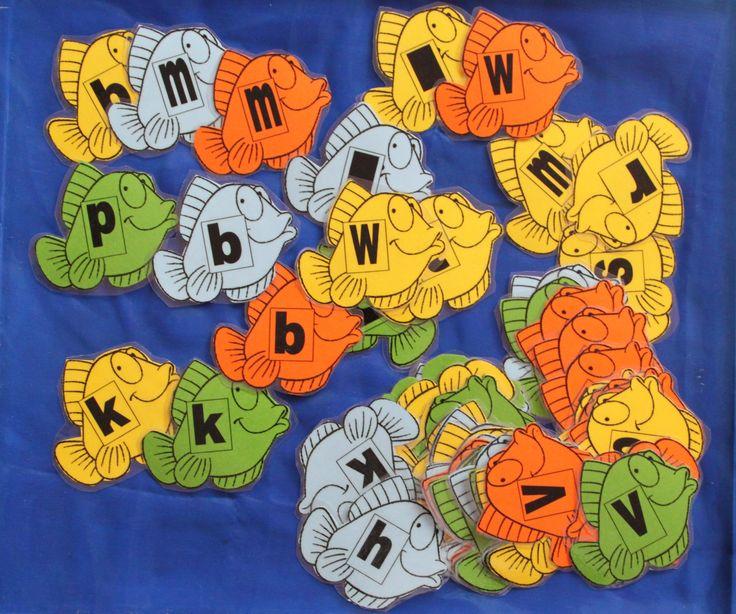 Met de letters op de vissen kun je allerlei spelletjes doen. Letter memorie, sorteren van de letters, auditieve oefeningen.