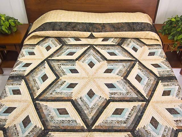 Diamond Star Log Cabin Quilt -- terrific meticulously made Amish Quilts from Lancaster (hs5469)