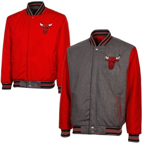 Chicago Bulls Reversible Wool Jacket with Team Color Sleeves - Gray/Red