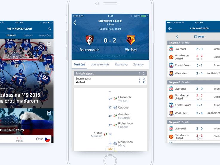 Mobile application for the biggest  sport portal on the Slovak Internet.