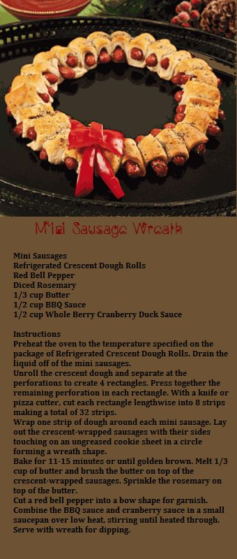 ~~Mini Sausage Wreath~~ #Christmas #food #mini_sausages #wreaths