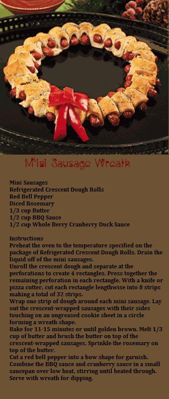 ~~Mini Sausage Wreath~~ #Christmas #food #mini_sausages #wreaths
