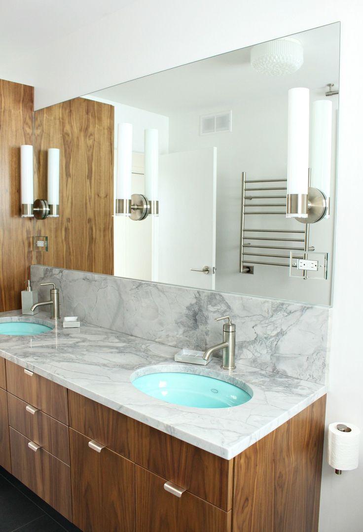 Brushed nickel bathroom mirror - Bathroom Progress Quartzite Counters Brushed Nickel Aqua Sinks Kohler Purist Walnut