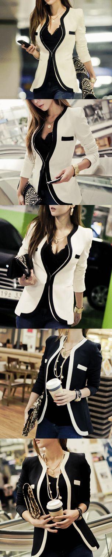 Women's slim fit blazer . Street style fashion 2015.