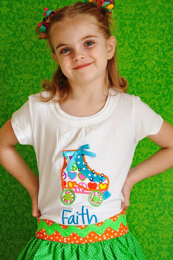 Roller Skate shirt for girls and toddlers by BubbleBabys on Etsy