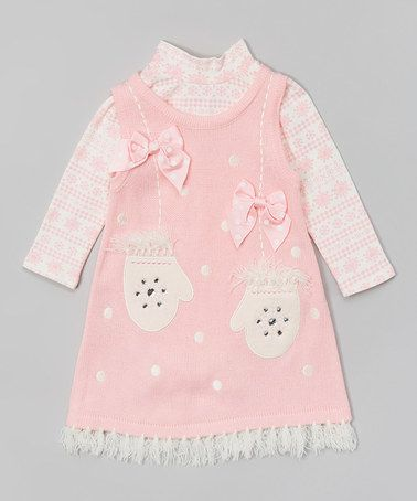 Another great find on #zulily! Pink Mittens Layered Dress - Infant, Toddler & Girls #zulilyfinds