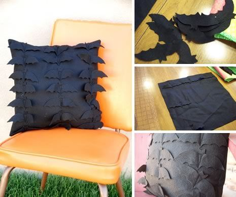 Create your own halloween felt bat pillow with this great tutorial.