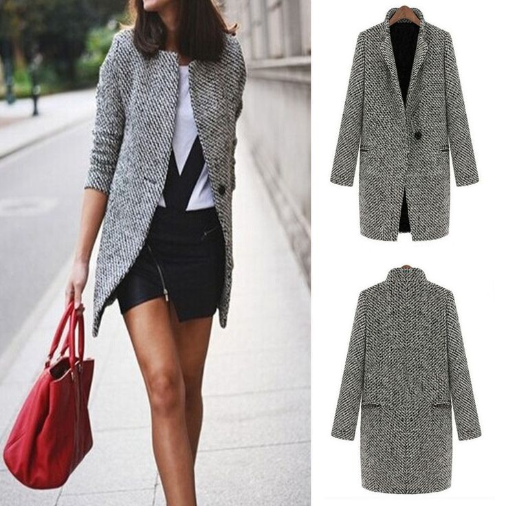 Winter Trench Coat Women Grey Medium Long Warm Wool Jacket Houndstooth Overcoat
