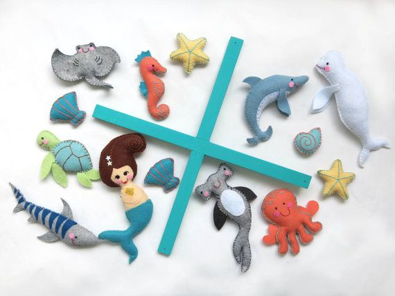 "BABY MOBILE  ""Enchanted Ocean"" made with wool felt / Sea creatures, mermaid, ocean mobile for crib"