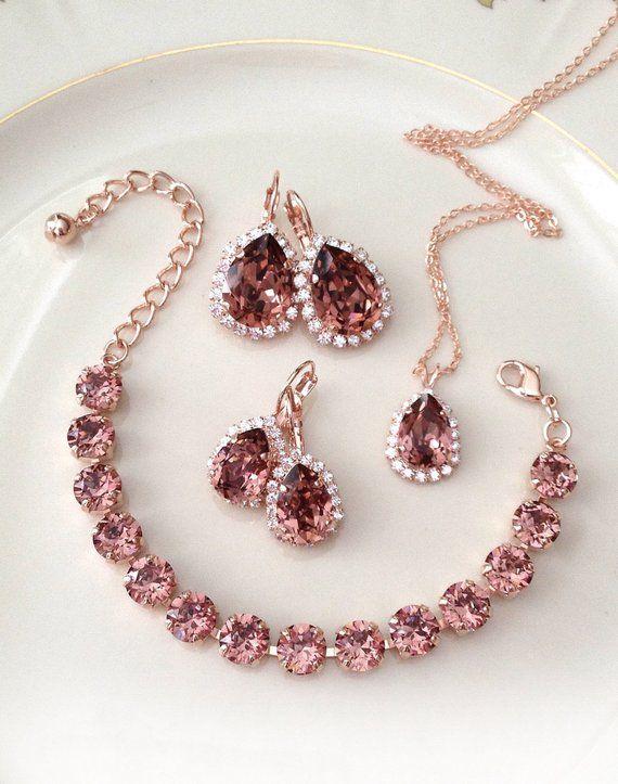 Set: Bracelet, Earrings, Necklace, Swarovski, light burgundy, rose gold, crystal, tennis bracelet, bridal wedding jewelry, wine, bordeaux – Joias
