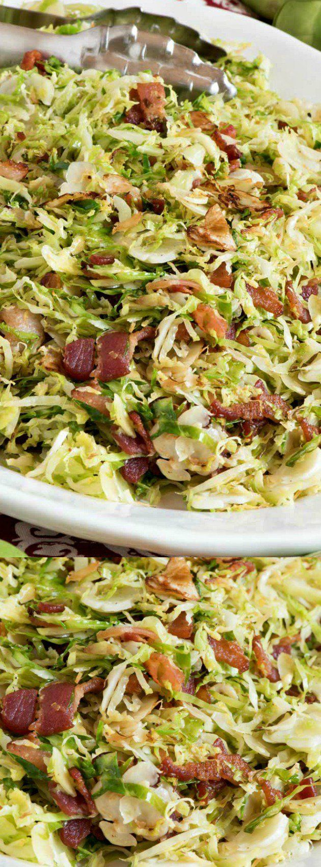 SHAVED BRUSSELS SPROUTS WITH BACON longpin