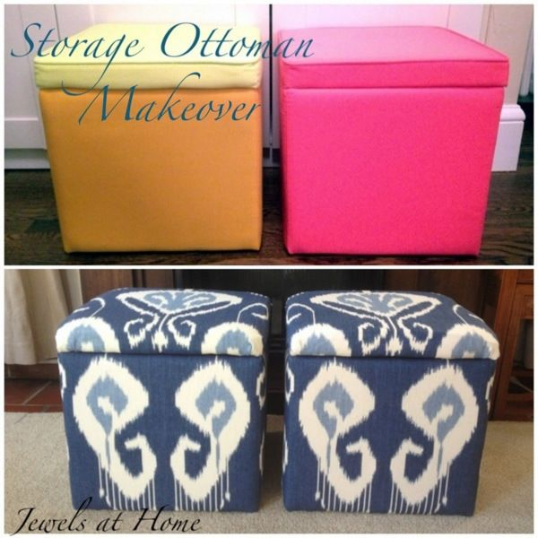 DIY storage ottoman makeover. An elegant transformation for these $9.99  storage cubes. Jewels at - 22 Best Images About Ottamon On Pinterest Nail Head, Ottomans