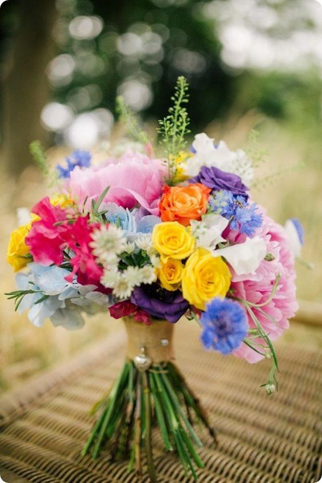 Gorgeous Multi Coloured Bouquets For Spring And Summer Weddings