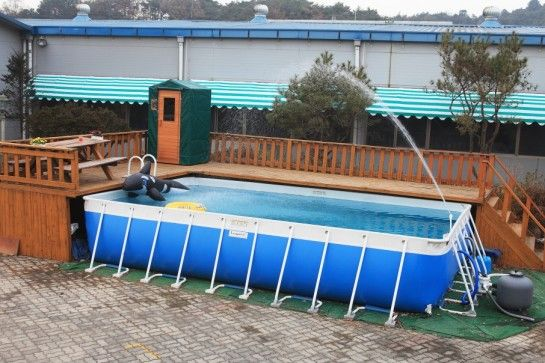Deck ideas for intex above ground pools decking for Square swimming pools for sale