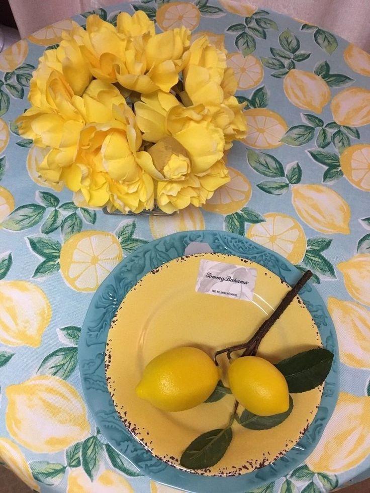 Isaac Mizrahi Lemons on Aqua poly In/Outdoor Tablecloth Various Shapes Size NEW #IsaacMizrahiNewYork