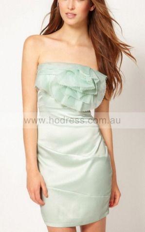 Sheath Strapless Knee-length Polyester Natural Formal Dresses gt3083--Hodress